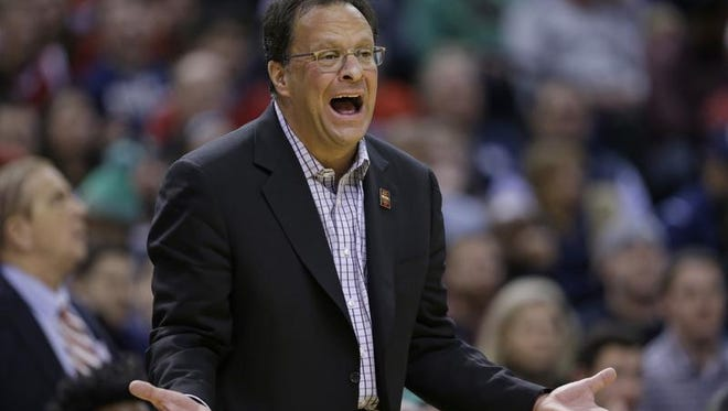 Indiana head coach Tom Crean yells to his team as they play against Butler in the first half of an NCAA college basketball game in Indianapolis, Saturday, Dec. 17, 2016. (AP Photo/Michael Conroy)