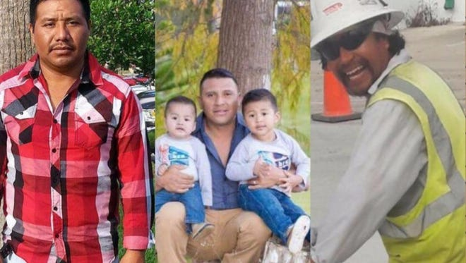 Funeral services for Abel Perez Hernandez (left) and Odilon Velasquez Morales (right) will be held Friday, April 28, 2017, at Holy Cross Catholic Church in Indiantown. A separate funeral service for Carlos Lopez Maldanado (center) will be Sunday, April 30, 2017, at Martin Funeral Home & Crematory.