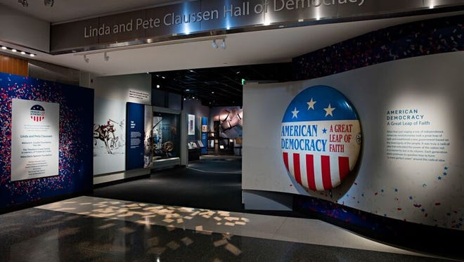 A new exhibit about American democracy is at the National Museum of American History and is shown in the Linda and Pete Claussen Hall of Democracy.