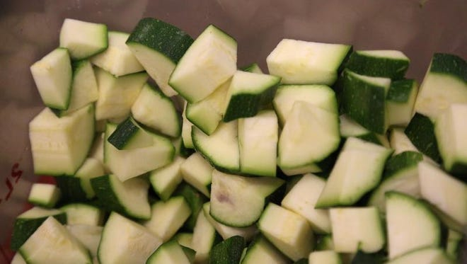 Diced zucchini await use in a variety of recipes. The Village celebrated the variety of ways zucchini can be used in an Aug. 8 event.