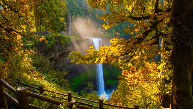 South Falls at Silver Falls State Park bursts with color in October.
