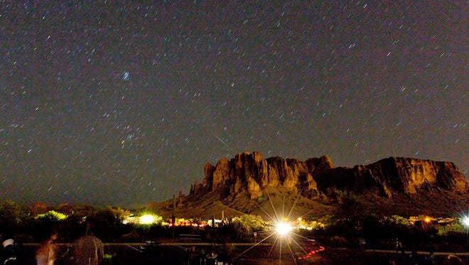 During his monthly talks at Lost Dutchman State Park, radio and TV personality Dr. Sky discusses astronomical events such as the upcoming meteor showers.