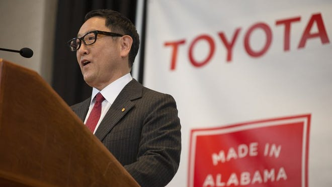 Akio Toyoda, Toyota Motor Corp. president, speaks during a press conference, Wednesday, Jan. 10, 2018, in Montgomery, Ala., where the Japanese automakers Toyota and Mazda announced plans to build a huge $1.6 billion joint-venture plant in Huntsville, that will eventually employ about 4,000 people. Several states had competed for the coveted project, which will be able to turn out 300,000 vehicles per year and will produce the Toyota Corolla compact car for North America and a new small SUV from Mazda
