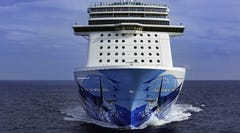 A view of Norwegian Escape as seen from its front.