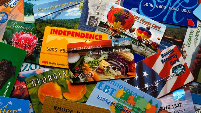 EBT cards from different states allow low income citizens to purchase food through the USDA SNAP program.