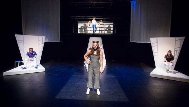 """Old Bridge native Chloe Martins is front and center as she and her fellow students in the Drew University theater department rehearse a scene from """"4320p: Immersion."""""""