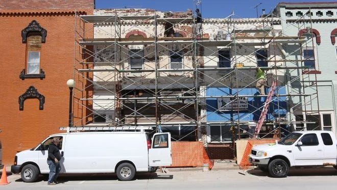 Renovations at 104 E. Salem as part of Thomas Smith's efforts to improve the Indianola square.