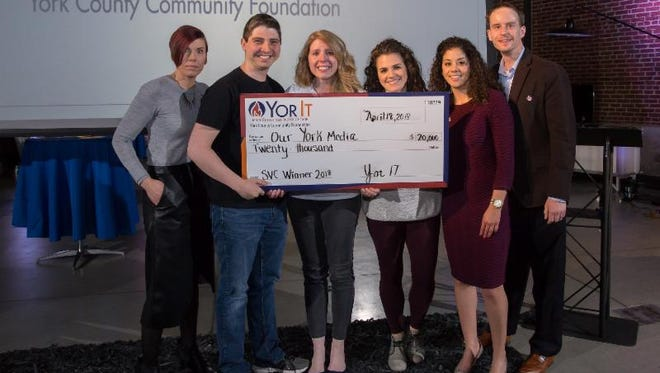 Our York Media, winners of the $20,000 YorIt Social Venture Challenge Grant. From left to right: Kelley Gibson, YorIt; Will and Rebecca Hanlon, Our York Media; Stella Accardo, Natalie Colon, Mike Haun, YorIt.