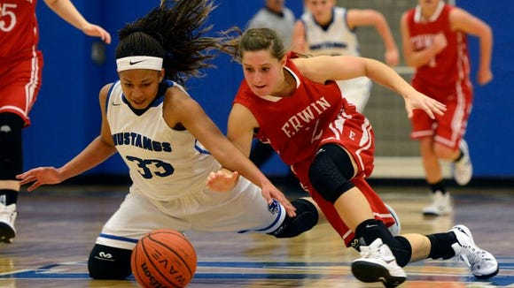 Erwin's Dalton Gossett, right, and Smoky Mountain's Aaliyah McCollum battle for a loose ball Tuesday in Sylva.
