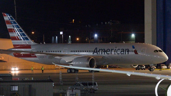 American's first Boeing 787 Dreamliner is seen here in the pre-dawn hours outside Boeing's production line facilities in Everett, Wash,