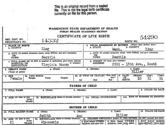 Adoptee Betsy Brenner's original birth certificate, which Washington State made available to her after the state legislature passed a law in 2013 allowing adoptees 18 and older to access sealed information unless a birth parent files a form requesting no information be released.