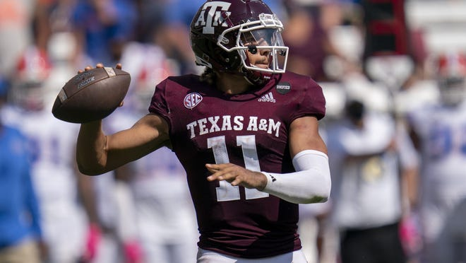 Texas A&M quarterback Kellen Mond passes downfield against Florida during the Aggies' win on Oct. 10. The Aggies are in the hunt for their first-ever College Football Playoff bid.