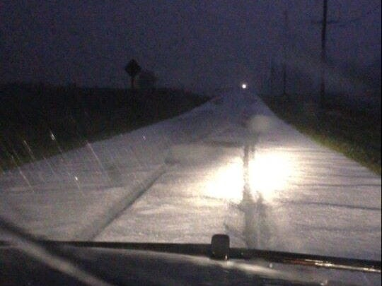 A photo posted on Facebook by the Door County Sheriff's Department shows 3-4 inches of hail on West Dunn Road after a storm passed through the town of Sevastopol north of Sturgeon Bay on Monday night.