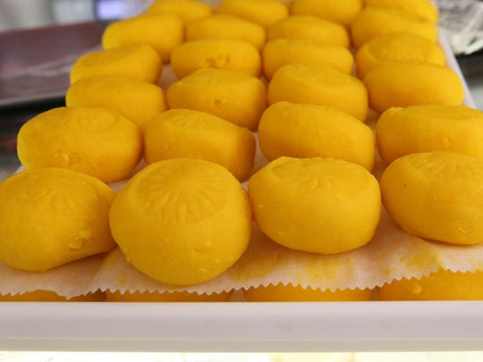 The Indian milk dessert kesar peda is a colorful treat,