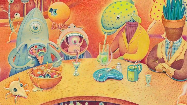 A scene from Palm Springs illustrator Dave Calver's