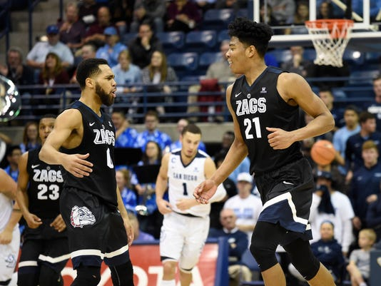 Gonzaga forward Rui Hachimura, right, is congratulated by Silas Melson (0) after scoring during the second half of an NCAA college basketball game against San Diego on Thursday, Feb. 22, 2018, in San Diego. (AP Photo/Denis Poroy)