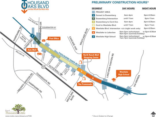 Map of the just-completed removal of 53 power poles on a 1.5-mile stretch of Thousand Oaks Boulevard.