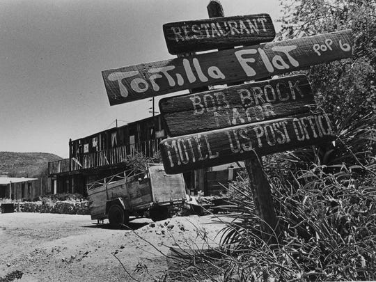 THEN: Damage from the fire could still be seen in Tortilla Flat in 1988.