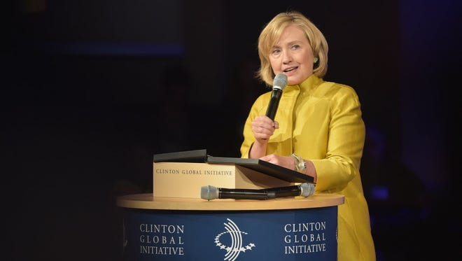 Former secretary of State Hillary Clinton during the Clinton Global Initiative's meeting on Sept. 24, 2014, in New York.