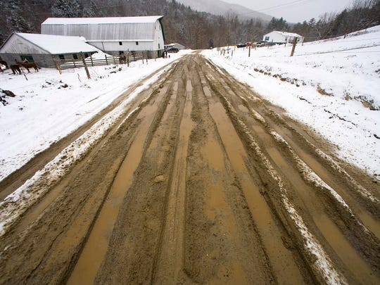 A typical scene of mud season in Vermont.