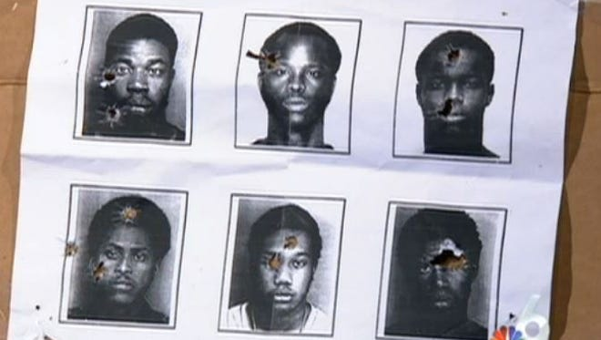 North Miami police used booking photos of six black men target practice, including Woody Deant, bottom center, when he was 18 years old.