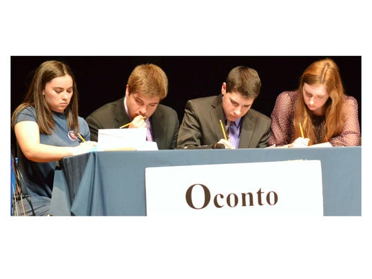 Four members of Oconto High School's Hi-Q team work