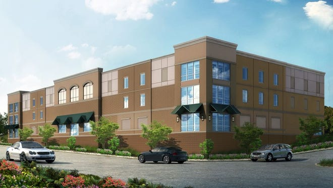 A 3D rendering of elevation of the planned self-storage project in Spring Hill as it will be seen from Columbia Pike/Main Street.