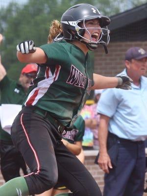 Sophomore Taylor Erschen is pounding the softball again this season.