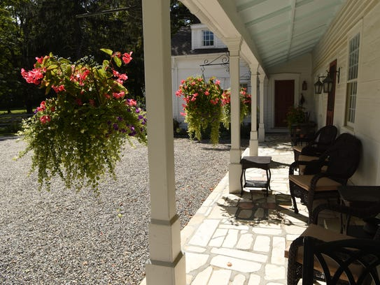An outside patio at the Old Drovers Inn in Dover Plains.