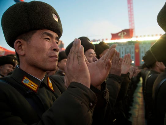 North Korean soldiers attend a mass rally in Kim Il-Sung