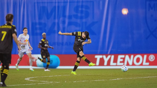 Crew midfielder Lucas Zelarayan scores his second goal of the tournament in the second half against New York Red Bulls on Thursday night at the MLS is Back Tournament.