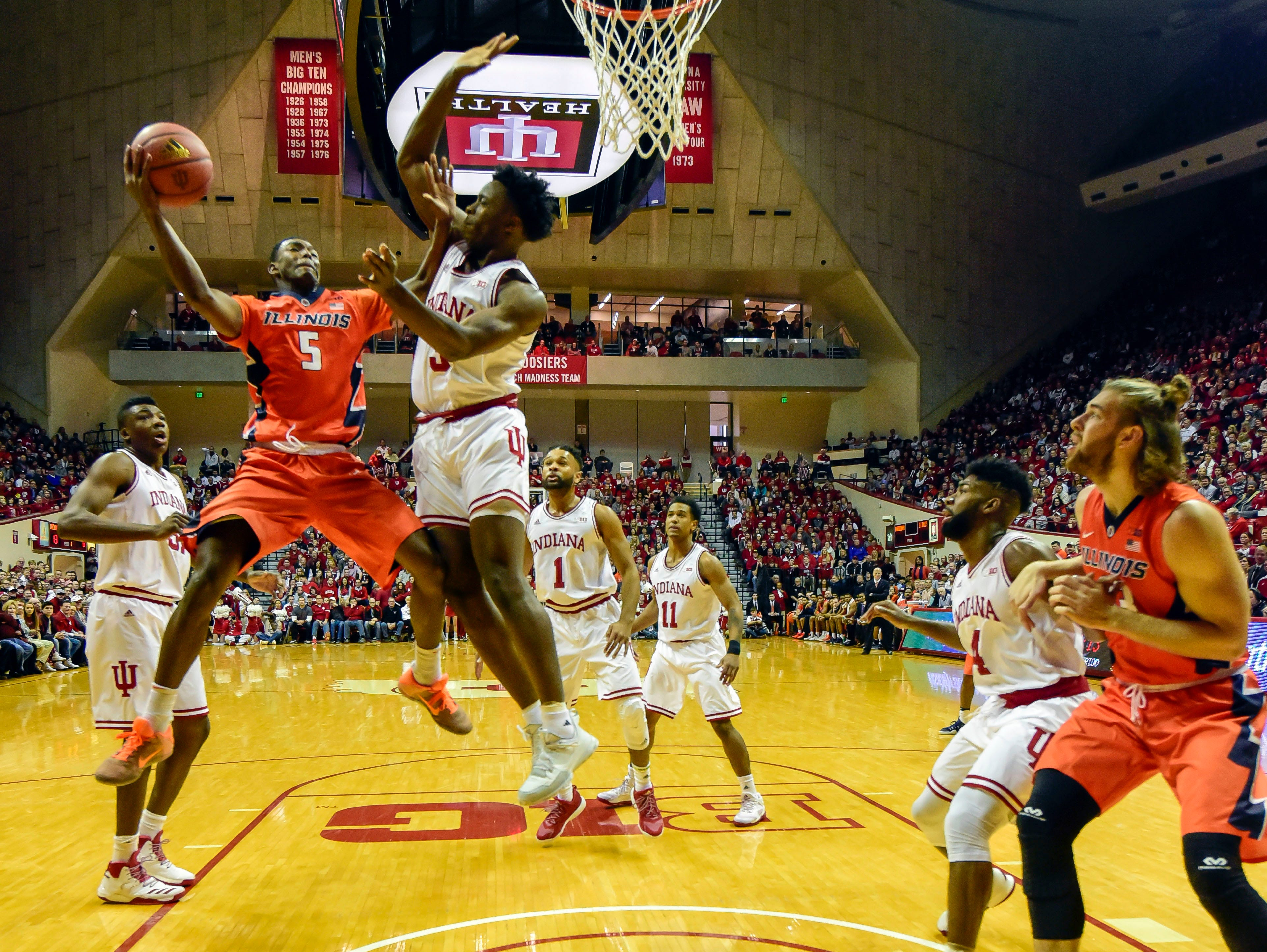Jan 7, 2017; Bloomington, IN, USA; Illinois Fighting Illini guard Jalen Coleman-Lands (5) attempts a shot against Indiana Hoosiers forward OG Anunoby (3) during the first half of the game at Assembly Hall. The Indiana Hoosiers defeated the Illinois Fighting Illini 96 to 80. Mandatory Credit: Marc Lebryk-USA TODAY Sports
