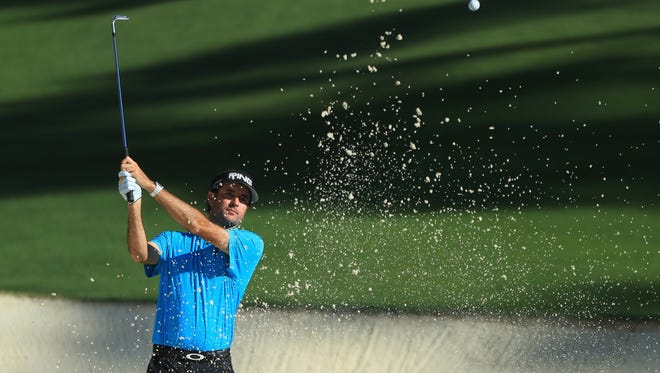 Bubba Watson, shown in a previous tournament, had up-and-down back nine Saturday at the Players Championship, leading into a 1-over par 73 finish.