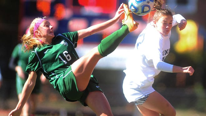 Kinnelon's Julia Kleczkowski goes for ball on a throw in a game in October of 2014.