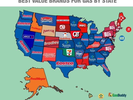 Gasbuddy.com identified the least-expensive gas stations in each state.
