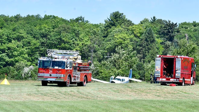 The airplane sits in a slight rolling gully at the north end landing strip of the Washington Island Airport on Saturday, July 15, 2017, at the 63rd annual Washington Island Lions Club Fly-In. There were no injuries. The airport was shut down for about 30 minutes while many planes in the area were circling. About 150 planes were expected at the Fly-In.
