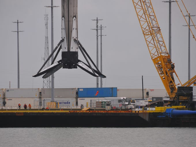 The booster from the new SpaceX Falcom 9  Block 5 rocket