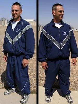 An airman models the legacy physical training uniform, left, and the modified PT uniform, right.