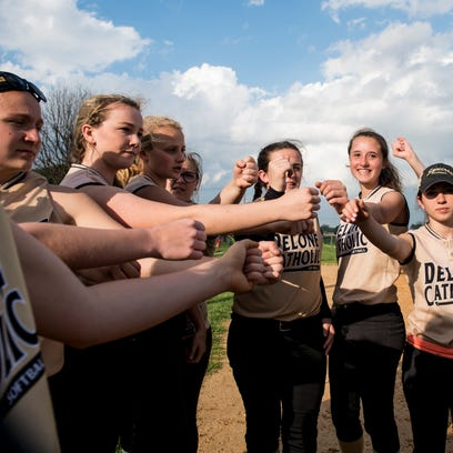 Delone Catholic celebrate after defeating Littlestown