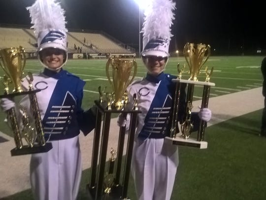 Carlsbad band majors Ashley Young and Kalli Spark.