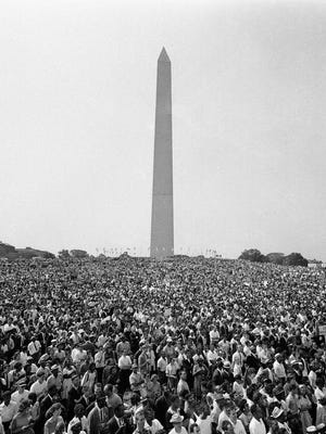 Demonstrators leave the Washington Monument for the March on Washington parade to the Lincoln Memorial on Aug. 28, 1963.