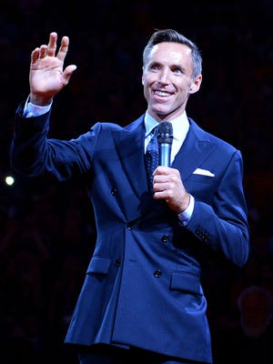 Two-time NBA Most Valuable Player Steve Nash smiles during his induction to the Suns Ring of Honor at Talking Stick Resort Arena.