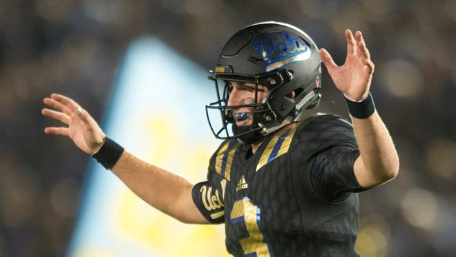 UCLA quarterback Josh Rosen celebrates a UCLA's touchdown reception during the first half against California in an NCAA college football game Thursday, Oct. 22, 2015, in Pasadena, Calif.