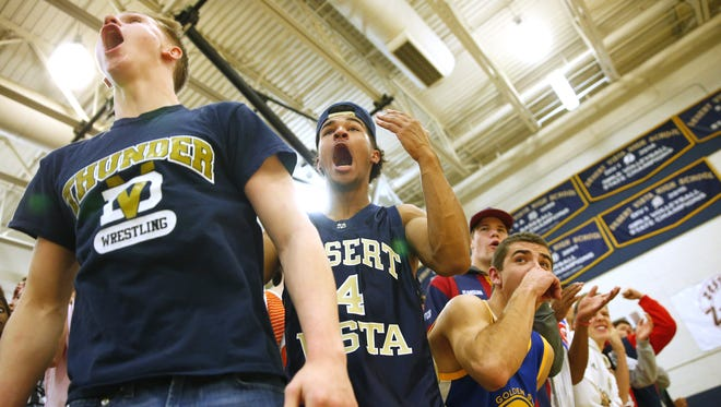 Desert Vista students react to play during a game against Corona del Sol in Phoenix January 17, 2017.