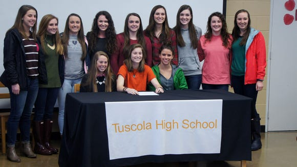The Tuscola girls soccer program held a signing ceremony Wednesday for seniors Rachel Swaim and Ashley Weidlich.