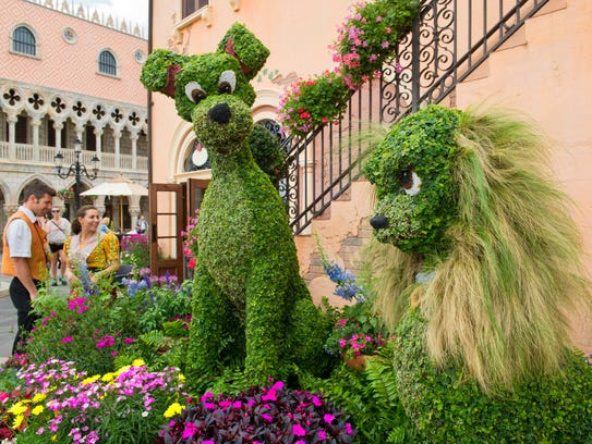 Topiaries of the popular stars of the Disney classic