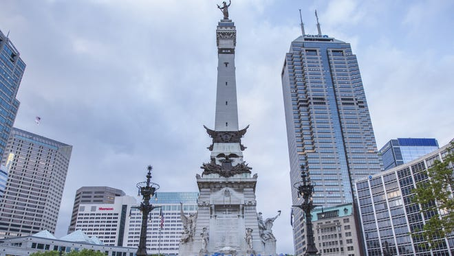 Monument Circle and the skyline.