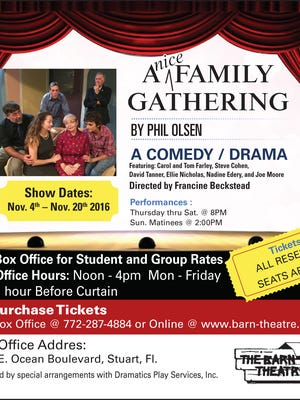 """A Nice Family Gathering"" is the next production at the Barn Theatre in Stuart."