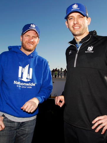 Dale Earnhardt Jr. and his crew chief Greg Ives, right,