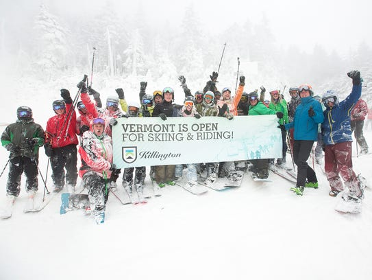 Skier and riders celebrate Killington's opening Sunday,
